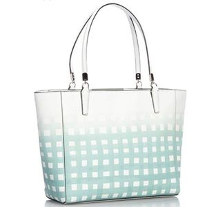 Coach Madison Gingham Leather tote blue purse bag